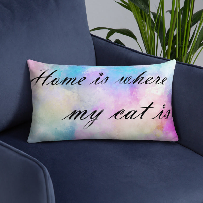 20x12 in home is where my cat is colorful throw pillow on blue sofa