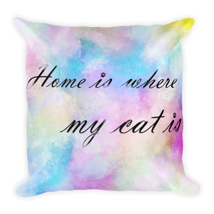 20x12 in home is where my cat is colorful throw pillow white background
