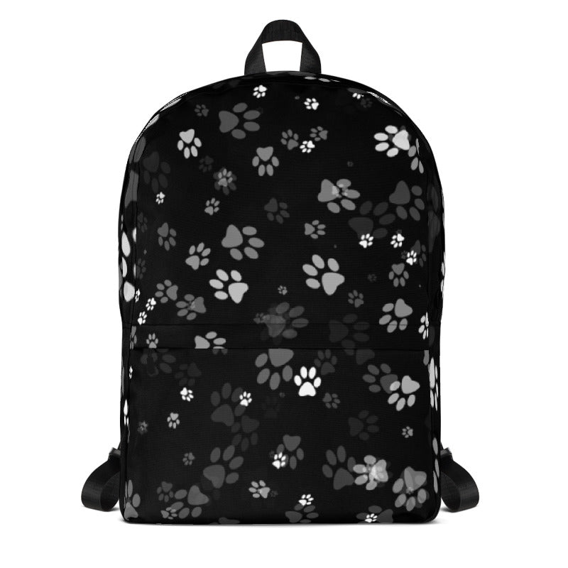 Cat lover black backpack with cat paw prints