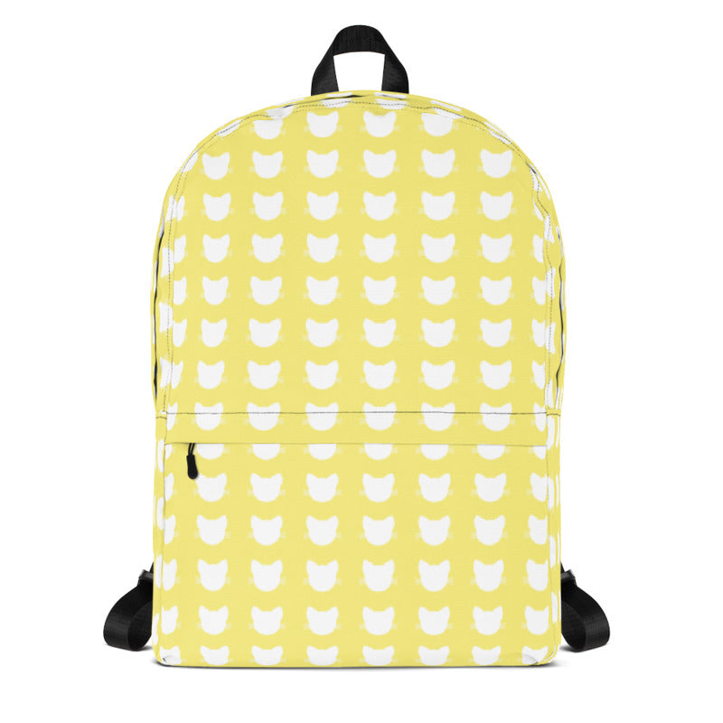 white cat heads on yellow background backpack for cat lover