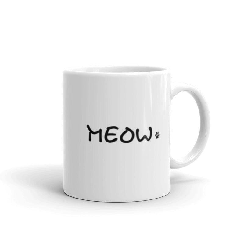 white mug with simple Meow text for cat lovers