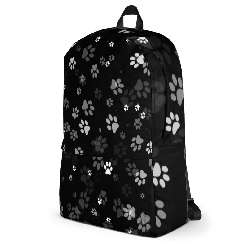 side view of cat lover black backpack with cat paw prints