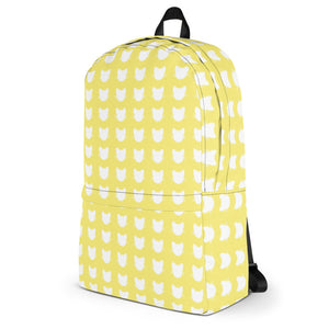 a side view of a white and yellow cat pattern backpack