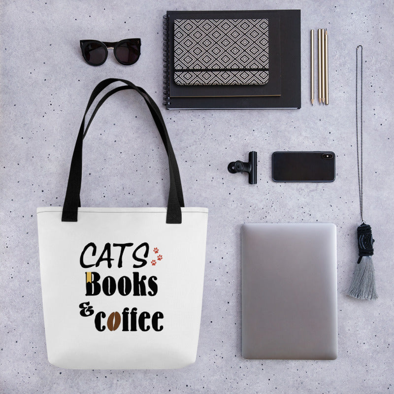 cats, books and coffee white tote bag with black straps