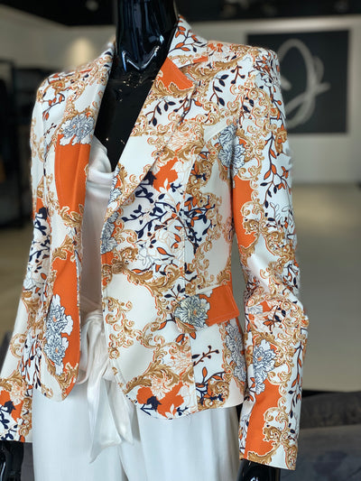 Orange Gold Printed Blazer