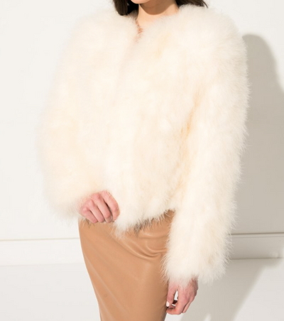 Lamarque Feather Jacket Ivory