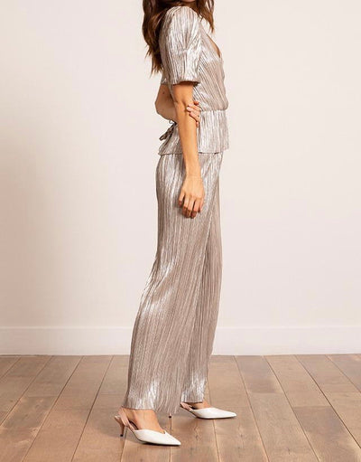 Bianca Metallic Pleated Pant