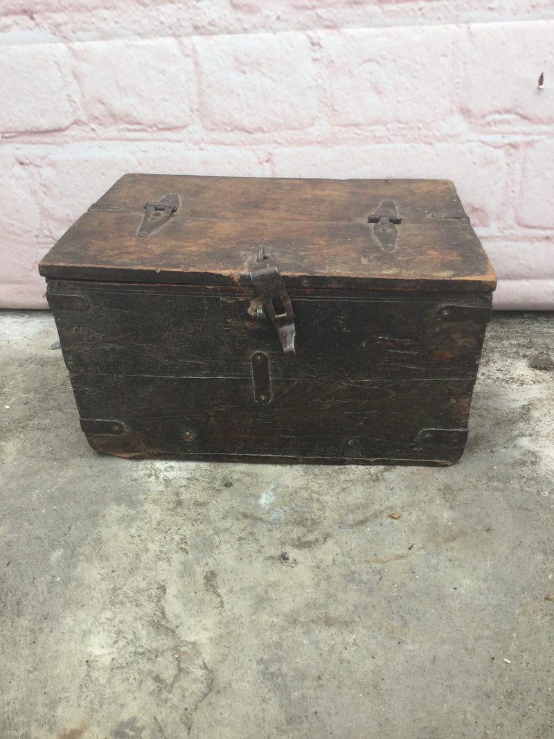 Old rustic Indian teak box with half top lid perfect for jewellery and small items | 41128