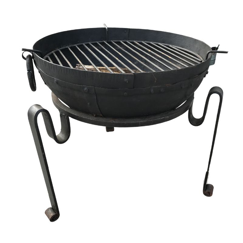 ø50cm | Recycled Indian Kadai Fire Bowl with Custom Stand & Grill
