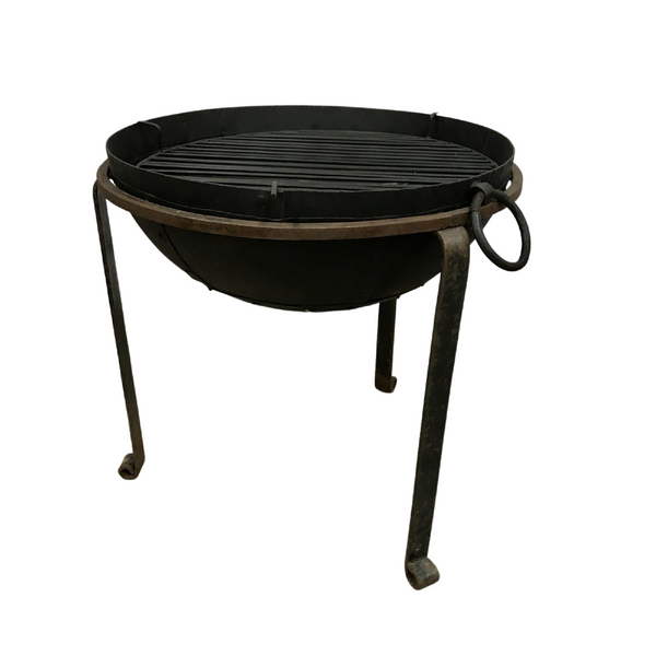 ø60cm | Recycled Indian Kadai Fire Bowl with Custom Stand & Grill