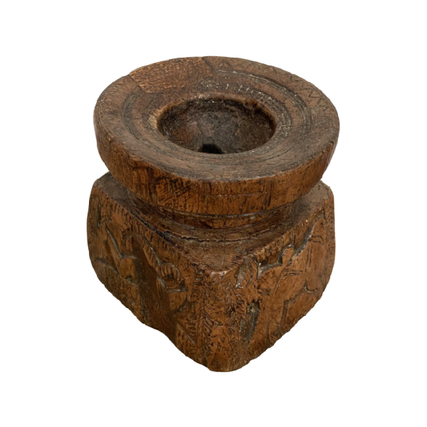 ANTIQUE CARVED TEAK SEEDER CANDLE HOLDER | ø14cm