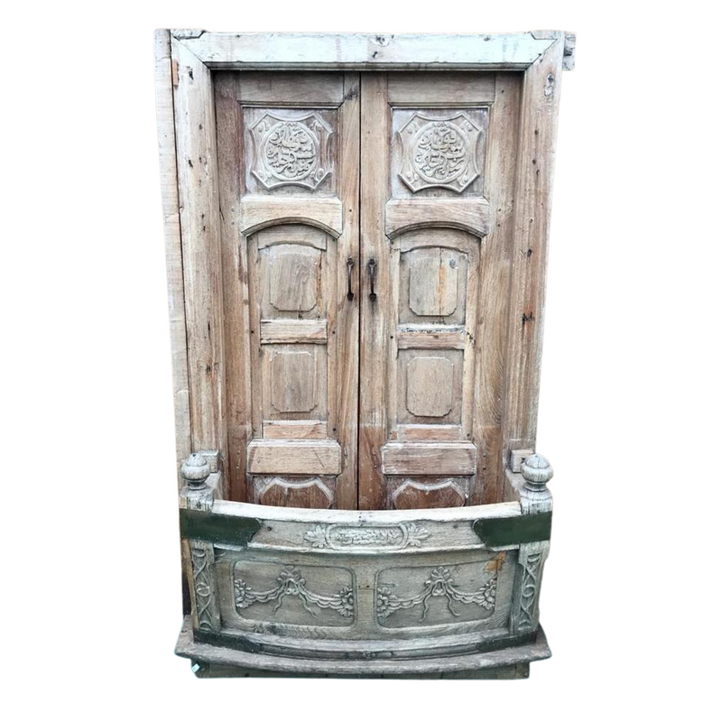 Antique Indian Balcony Window Frame & Doors (H189cm | W108cm)