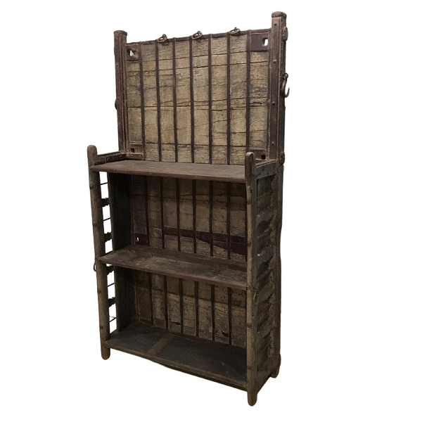 UPCYCLED VINTAGE INDIAN OX CART BOOKCASE (H199CM | W109CM)