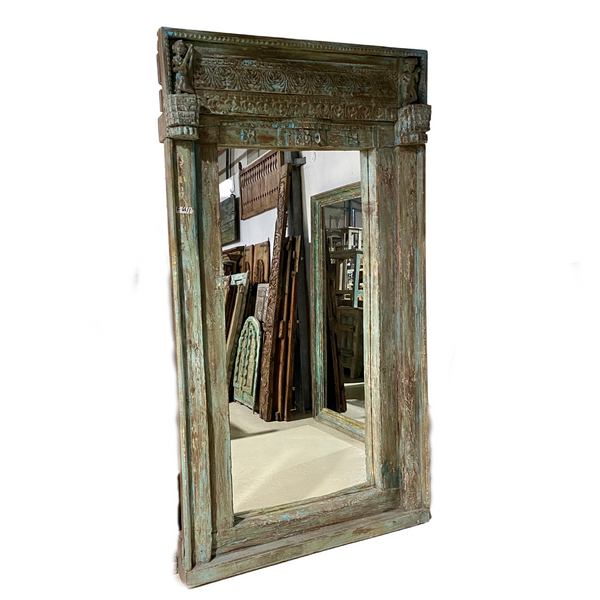 ANTIQUE INDIAN DOOR FRAME FLOOR MIRROR (217CM | W119CM)