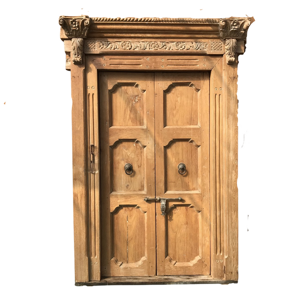 Antique Indian Haveli Mansion Door with Carved Frame (H226cm | W145cm)