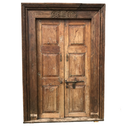 Vintage Indian Door in Carved Frame (H210cm | W148cm)