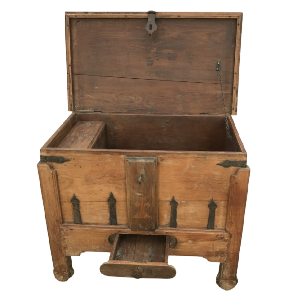 ANTIQUE INDIAN DOWRY TEAK CHEST (W102CM | H83CM)