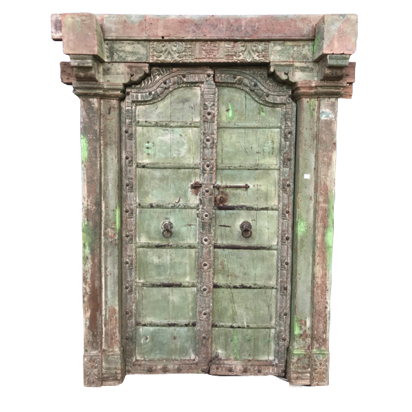 Antique Indian Mansion Painted Door (H202cm | W137cm)