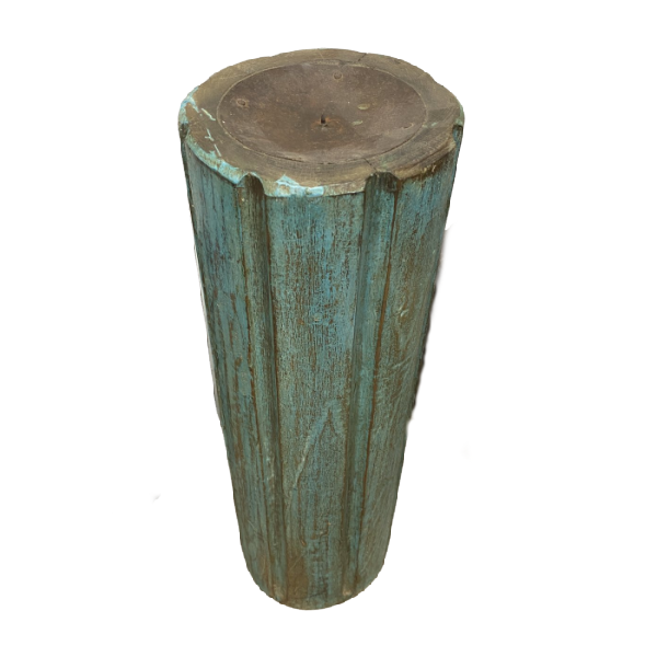 ANTIQUE INDIAN TEAK PILLAR CANDLE HOLDER (H53CM | Ø17CM)