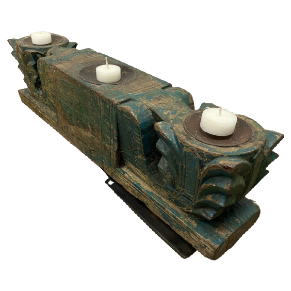 ANTQUE INDIAN CARVED TRIPLE CANDLE HOLDER | GREEN PATINA (W53CM | H17CM)