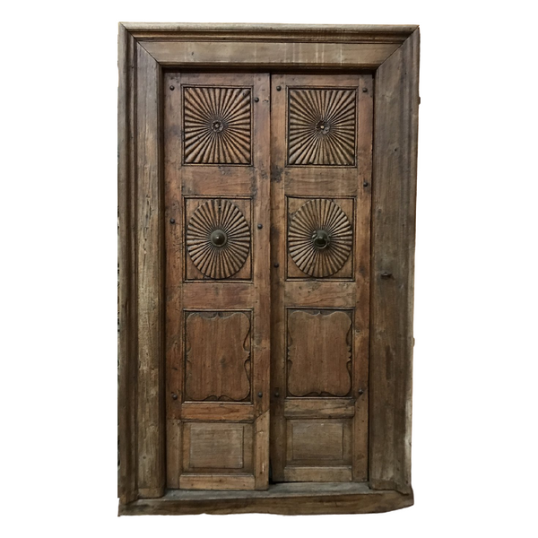 Vintage carved teak door in frame (H226cm | W127cm)