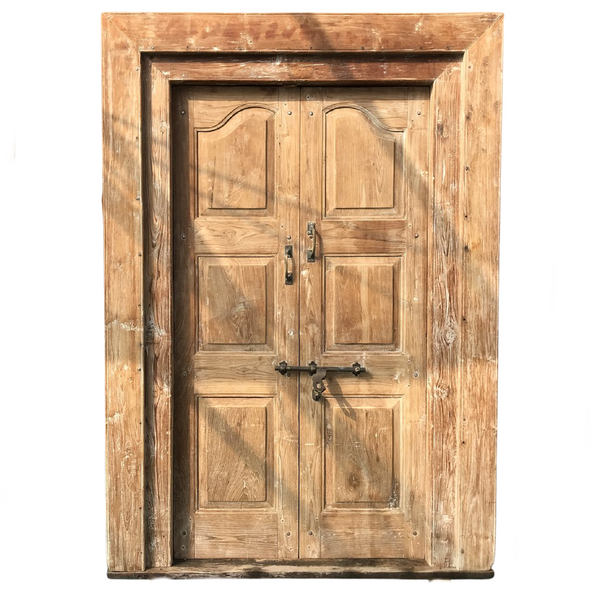 Vintage Indian mansion teak doors in frame (H210cm | W146cm)
