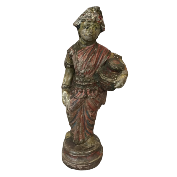 VINTAGE INDIAN PAINTED TERRACOTTA LADY FIGURINE