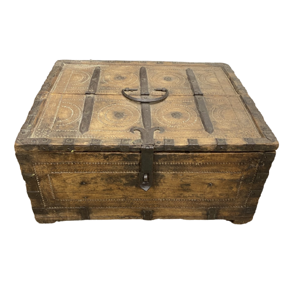 ANTIQUE INDIAN TRIBAL DOWRY BOX | DESK & JEWELLERY BOX  (W:33CM H:16CM)
