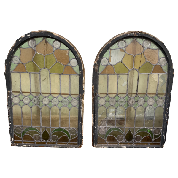 PAIR OF ANTIQUE STAINED GLASS ARCH WINDOWS (H96cm | W64cm)