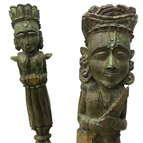 RARE PAIR OF ANTIQUE INDIAN CARVED TEAK CORBELS ON STAND (H77CM | W16CM)