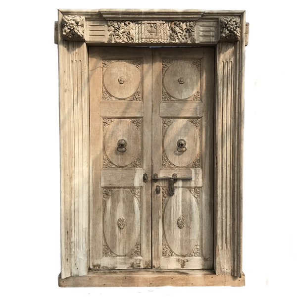 Antique Anglo-Indian Mansion door in frame (H235cm | W143cm)