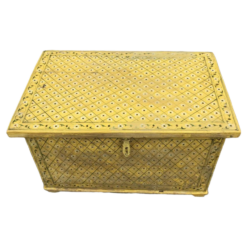 HAND PAINTED YELLLOW INDIAN CHEST