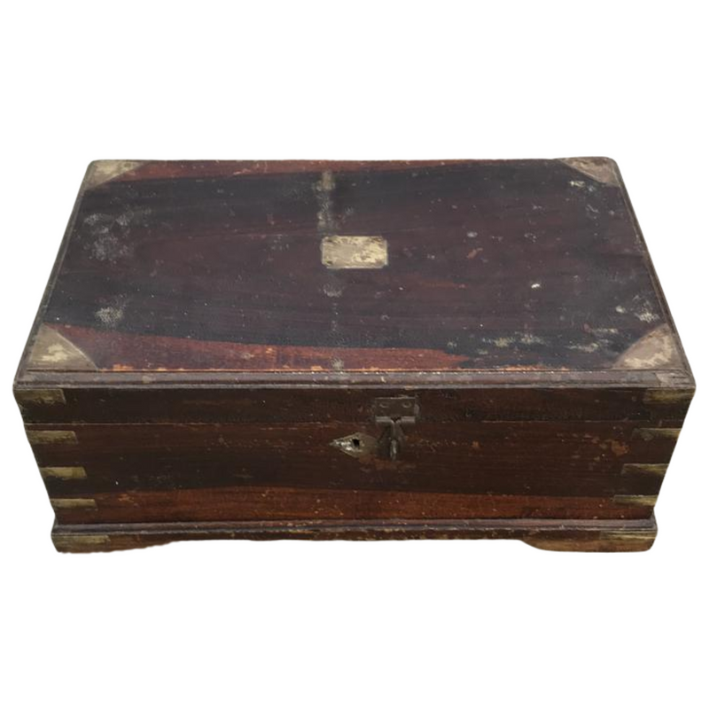 Classic Anglo-Indian teak desk box perfect for stationery or jewellery | 33383
