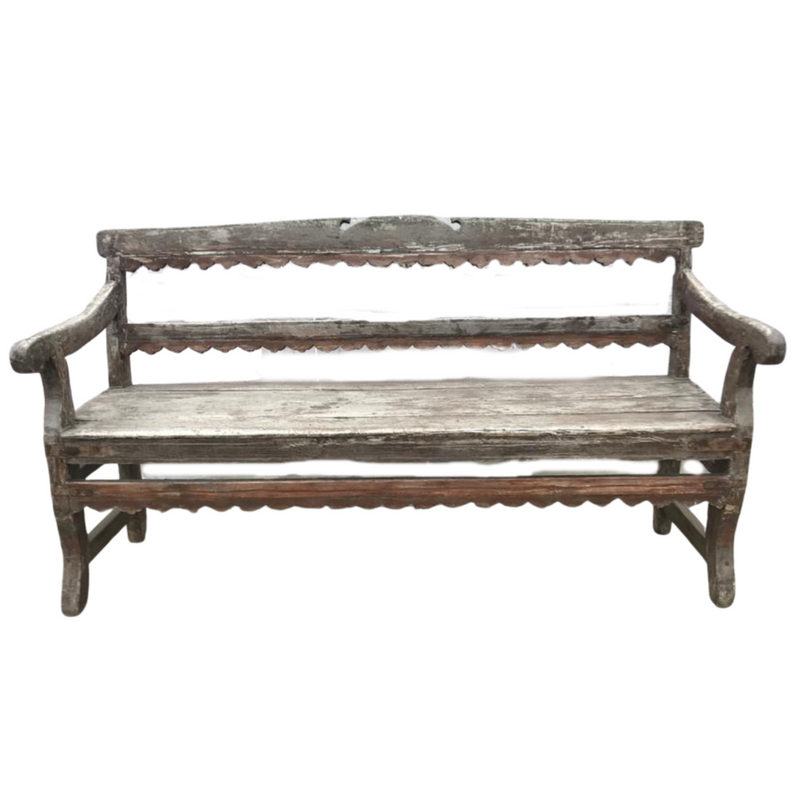 VINTAGE CARVED TEAK BENCH (W163CM | H90CM)