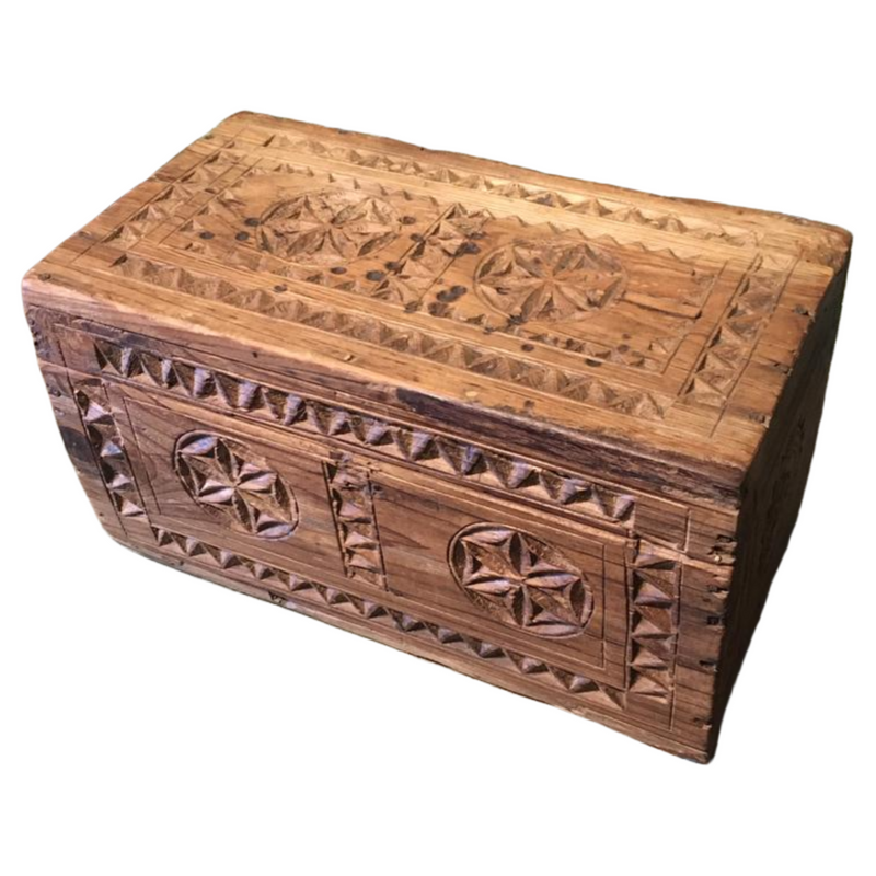 ANTIQUE CARVED TRIBAL DOWRY BOX INDIA | DESK & JEWELLERY BOX