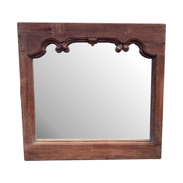 HAND CARVED TEAK INDIAN WALL MIRROR (H61CM | W63CM)