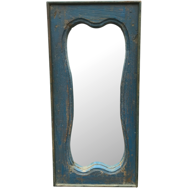 VINTAGE BLUE PAINTED TEAK INDIAN MIRROR (H74cm | W36cm)