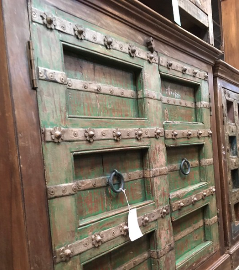 RECLAIMED INDIAN STUDDED DOORS CABINET | GREEN PATINA (W120CM | H112CM)