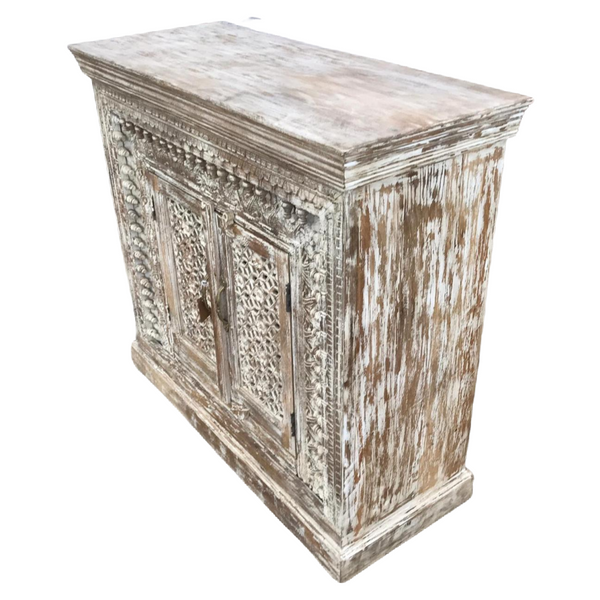 HAND CRAFTED INDIAN HARDWOOD CABINET | 2DR