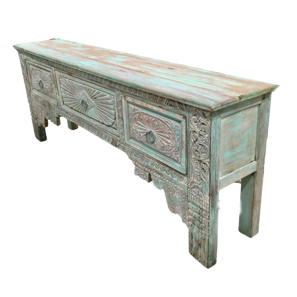 DECORATIVE CARVED PAINTED CONSOLE | GREEN PATINA (W237CM | H90CM)