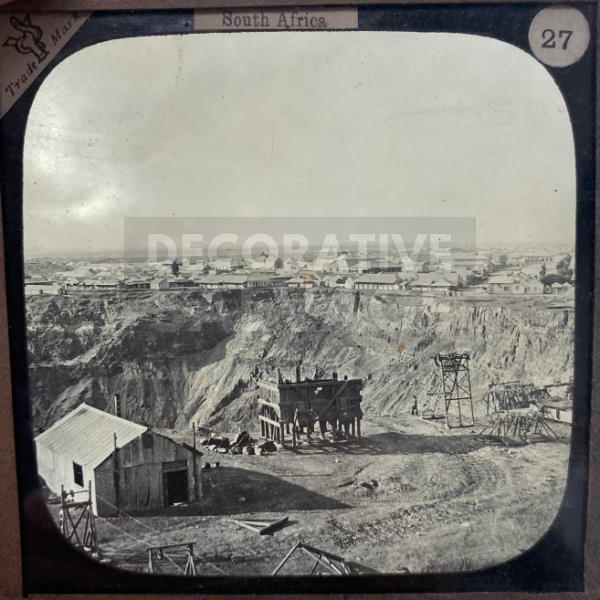 Lantern Slide | De Beers Diamond Mine, South Africa (ca 1890s)
