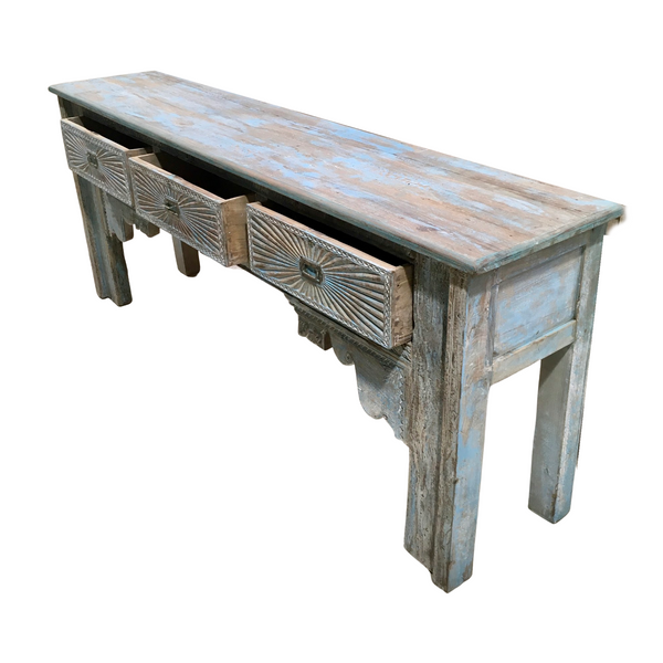 DECORATIVE CARVED PAINTED CONSOLE | BLUE TURQUOISE PATINA (W237CM | H90CM)
