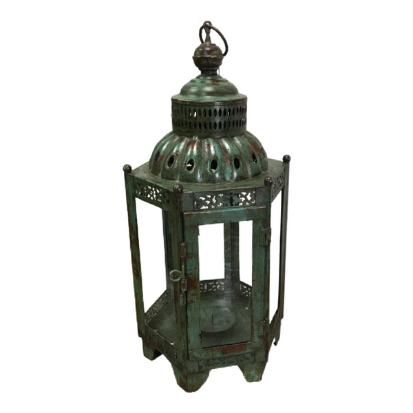 INDIAN METAL HURRICANE LANTERN | GREEN PATINA (DIAM Ø26CM | H58CM)
