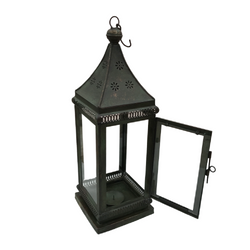 INDIAN METAL HURRICANE LANTERN | PAGODA SHAPE (DIAM Ø23CM | H65CM)