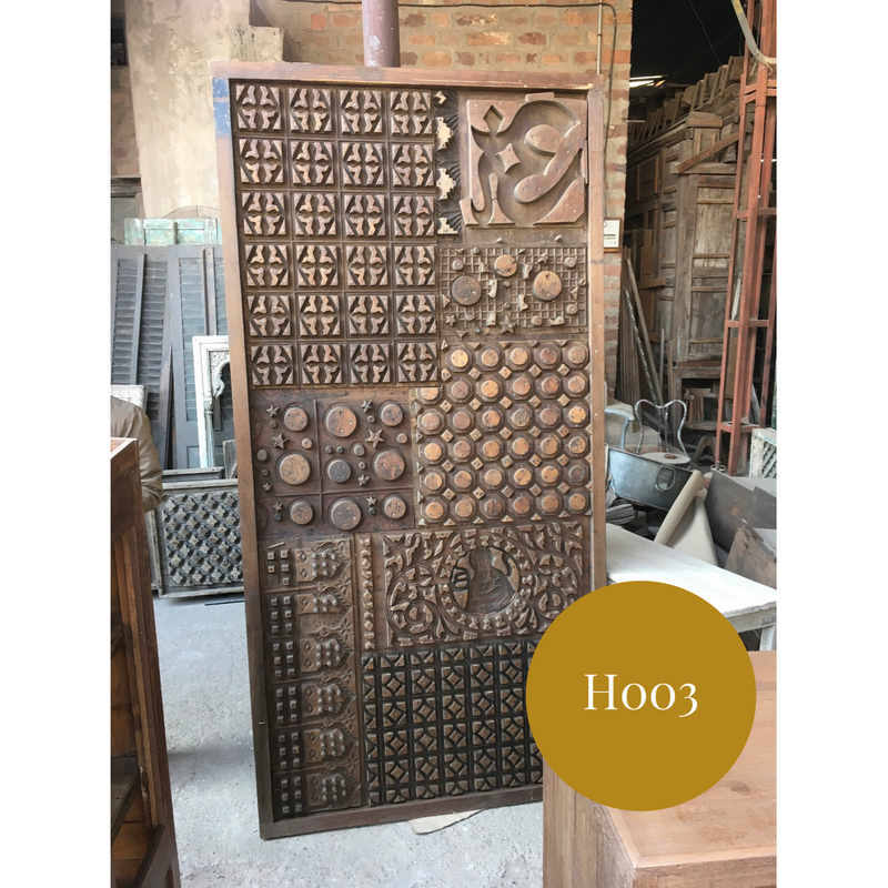 Vintage Indian print block headboard or wall art