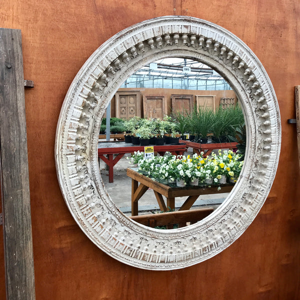 Hand Carved Indian Ornate Circular Mirror | ø120cm