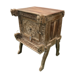 HAND CARVED TEAK INDIAN BEDSIDE TABLE (H71CM | W51CM)