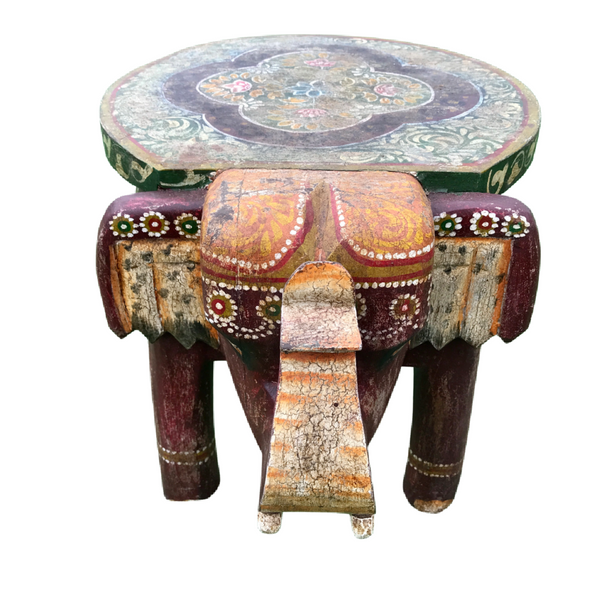 HAND CARVED & PAINTED INDIAN ELEPHANT SIDE TABLE