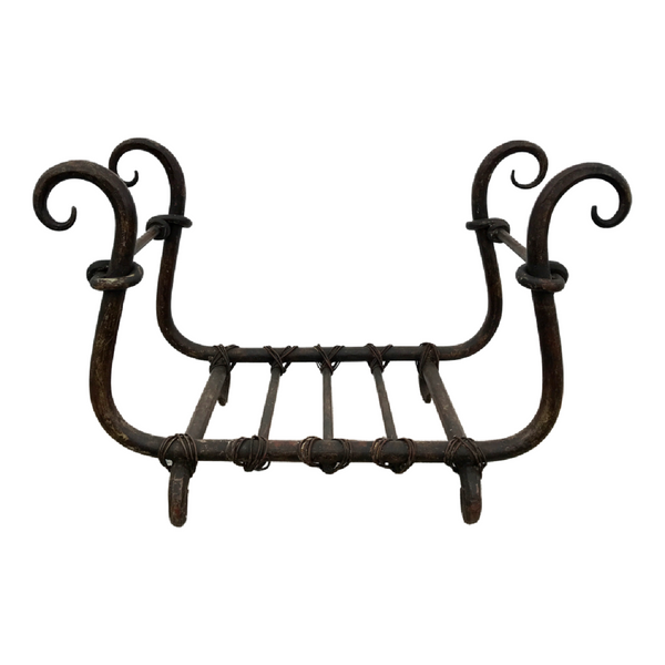 HAND CRAFTED WROUGHT IRON FIRE LOG STAND (W55CM | H33CM)