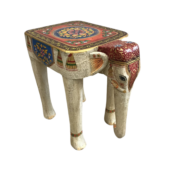 Hand painted Indian Elephant side table/ stool (H48cm | W32cm)